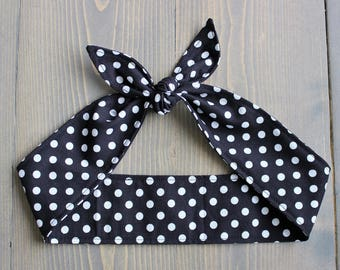 Pinup Hair Accessory, Rosie Wrap, Rockabilly Hair Tie, Black with White Polka Dots, Hair Bow, Rosie the Riveter, Cotton