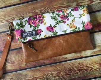 Made to Order Super Pretty Floral & Leather Fold Over Wristlet Clutch w/ Removable Leather Strap