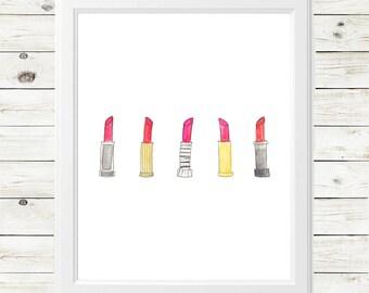 lipstick art print - red lipstick art print - pink lipstick art print - retro red lipstick - inspirational art print - feminine art print