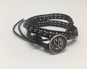 Hematite Double Wrap Leather Bracelet
