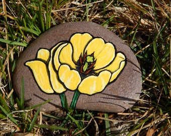 Yellow Flowers, Yellow Tulips, Spring Flowers Hand Painted Rock Art