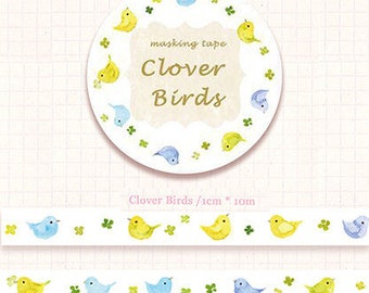 1 Roll of Limited Edition Washi Tape-Clover Birds