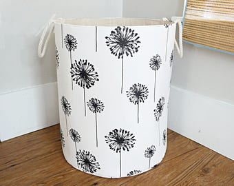 "Extra Large Fabric Storage Hamper, Laundry Basket, Black and White Dandelion Fabric Organizer, Toy or Nursery Basket - 20"" Tall"