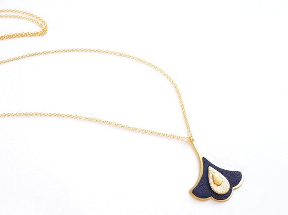 Collier Reine marine et or, art nouveau, forme fleur, cadeau noël parfait !