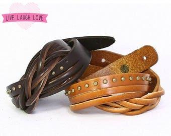 Leather Wrap Bracelet. Partial Braid, Strands, Studded Leather Stacked Bracelet. Leather Bangle Cuff. Brown, Black, Color Leather. B016-PYR