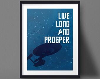 Star Trek Poster Design Enterprise Art Print Live Long and Prosper