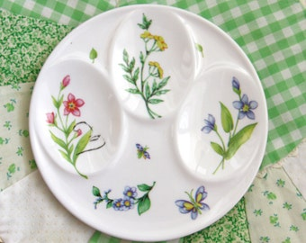 Vintage Egg Plate - Botanical Egg Plate -  Three Egg Plater