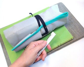 XL / Art Roll / Pencil Roll / 96 Pencil Roll Up / Grey canvas with Sea Glass Binding