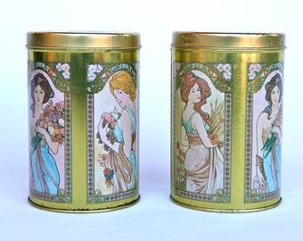 Alphonse Mucha decorated Wella tins