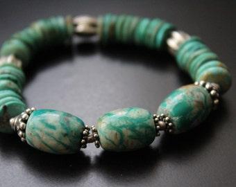 Genuine turquoise bracelet - Fox turquoise bracelet - boho tribal primitive bracelet - Bali and Thai sterling bracelet - boho bracelet