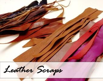 Leather Scraps -Craft Supplies - red, brown, purple