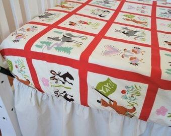 Organic Crib Sheet, Organic Toddler Sheet, Organic, Animal Parade, Deer, Bunnies, Chickens, Woodland Crib Sheet