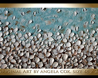 Original Modern  Heavy  Impasto  Textured  White Flowers   Acrylic Palette Knife Landscape   Painting.