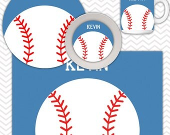 Baseball Plate & Bowl Set - Personalized Baseball Plate Set - Customized Plate and Bowl - Melamine Plate and Bowl Set for Kids