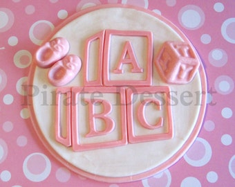Edible BABY SHOWER Cake Topper -Baby Blocks -Baby Booties  cake -Baby Girl -Baby Announcement cake -Fondant cake topper -PINK Baby (1 piece)