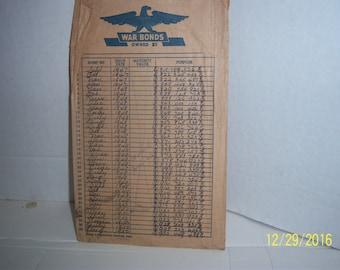 1940's WWII Government Issued War Bonds Envelope Paper  Ephemera