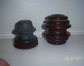 Lot of 2 Porcelain Cable Telephone Pole Insulators  3 3/4 to 4 1/4 inches tall