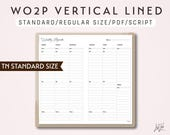 STANDARD SIZE TN Week on 2 Pages Vertical Lined - Printable Traveler's Notebook Insert - Script Theme -  WO2P
