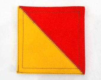 Nautical signal flag letter O wool felt coaster
