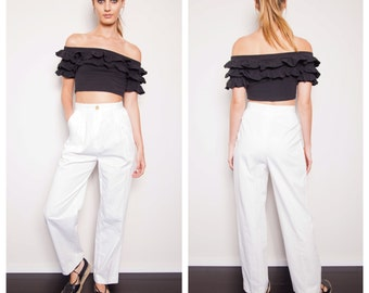 S.A.L.E was 150 now 100 chic vintage 80s GIVENCHY white cotton high waisted tailored pants trousers