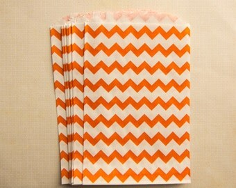 Paper bags for presents, zigzags oranges, bags chevrons, bags Halloween the Lot of 10