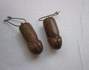Brown Buffalo Bone Carved Penis Earrings Dangle Ear wires Jewelry Tribal Boho