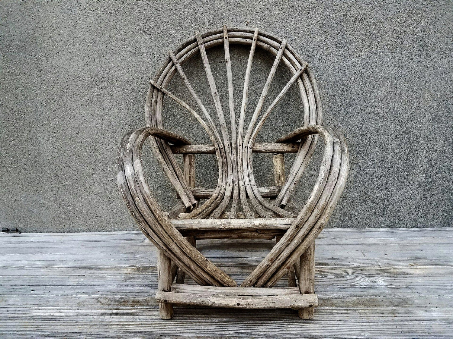 Antique Adirondack Folk Art Bent Willow Twig Child 39 S Chair