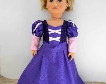 Princess Rapunzel Tangled dress for American Girl doll and other 18 inch dolls