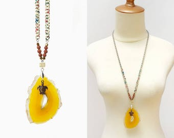 Mustard Yellow Big Agate Geode Stone Slice Necklace with Turtle Charm, Yellow Fluorite and Gold Sandstone