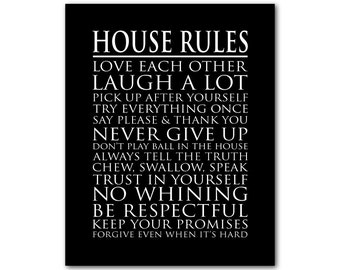 House Rules Wall Art Print - Typography Subway Art - Family Room, Playroom Wall Decor Print - Laugh a lot - love each other - no whining