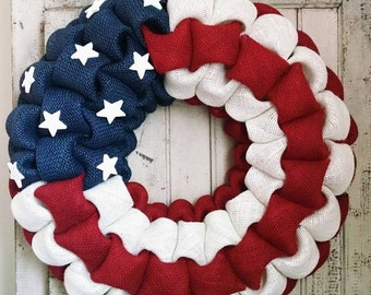 American Flag Patriotic burlap wreath