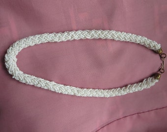 Thick Braided Necklace or Choker with Tiny White Beads Intertwined and Hook Clasp