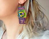 Purple leather earrings Paper earrings Unique beaded earrings Hand painted abstract earrings Funky colorful earrings Long dangle earrings