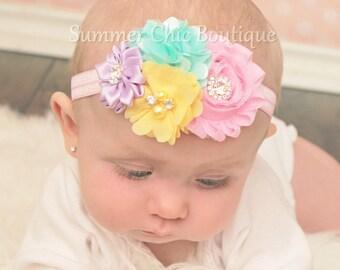 Easter Baby Headband, Infant Headband, Newborn Headband, Pastel Baby Headband, Pink, Lavender, Light Yellow, Easter Headband