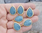 blue quartz pendant teardrop faceted charm  drop bezel pear 24mm gemstone gold plated turkish jewelry supplies bzlM1