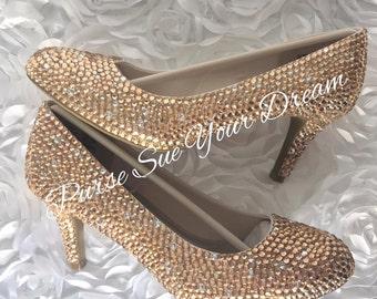 Champagne Color Crystal Rhinestone Bridal Heels - Prom/Bridesmaid/Wedding Heel Shoes - Swarovski Heels - Rhinestone Champagne Pumps