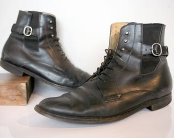 Black Leather Beatle Boots Italian Made by Fairbanks 13 D Bally Soles