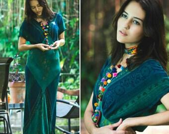 Bohemian Dress - Green Blue Summer Maxi - Saint Tropez West - Boho Gypsy Style