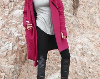 NEW Extra Warm Qilted Winter Asymmetric Extravagant Raspberry Pink Hooded Coat/ Wool/Cashmere Blend/ Double Zipper/Large Pocket Coat A07198