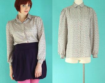 Vintage 70s Printed Blouse - Long Sleeve Blouse - Button Down Shirt - Beige Blouse - Tan Shirt - 80s Blouse - Secretary Blouse - Size Medium