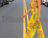 Yellow African Print Jumpsuit