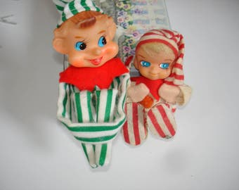 Vintage Striped Elf Lot of 2 Green and Red