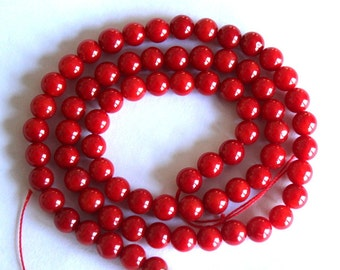 Red Coral Bamboo Round Beads
