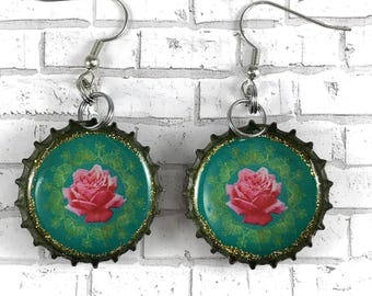 Pink Rose Earrings Bottle Cap Earrings Recycled Jewelry Beer Caps Pink and Turquoise Flower Jewelry Floral Earrings