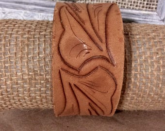 Tooled Leather Cuff Bracelet Rustic Statement Bracelet/Distressed Leather Cuff - Boho Cuff -Indie Jewelry -Leather-Cowgirl -Western-Romantic