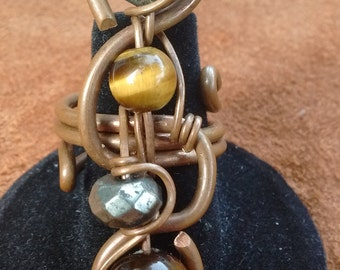 handmade tigers eye pyrite ring, tigers eye wire wrapped ring, copper pyrite ring, tigers eye jewelry, hippie gypsy ring, pyrite jewelry