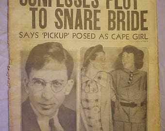 September 11, 1935 Daily Record Boston, Mass. with Confesses Plot To Snare Bride cover ,has 28 pages of Sports and News