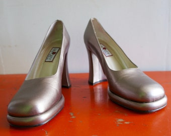 SILVER LEATHER PLATFORMS 1990's Silver Stacked Platform Heels, Harvey by Town Shoes, made in Spain
