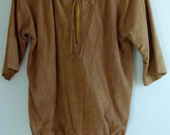 Vtg 60's 70's Boho chic designer I.magnin Camel buttery soft sheepskin Suede Leather pull over Jacket Coat tunic top sz. Small Medium