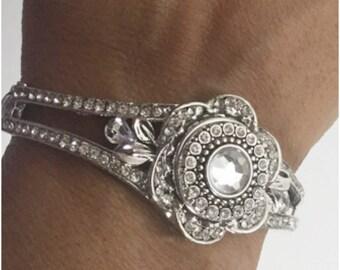 Sliver Flower Snap Interchangeable Bracelet